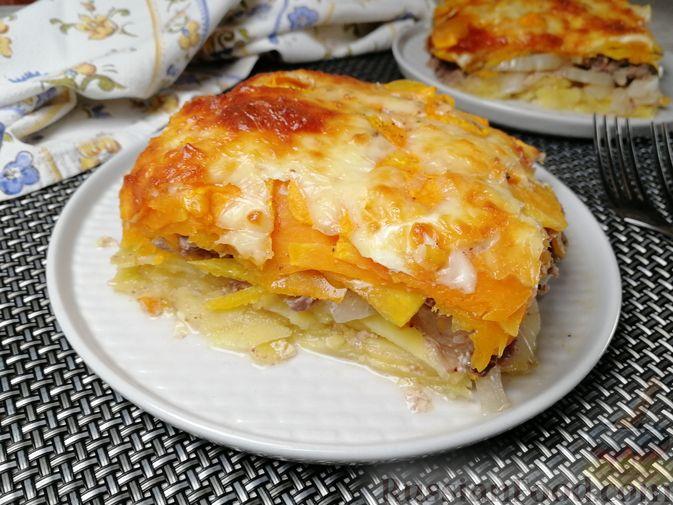 Фото к рецепту: Запеканка с картофелем, тыквой и фаршем из куриных потрошков
