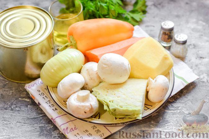Фото приготовления рецепта: Щи с тушенкой и шампиньонами - шаг №1