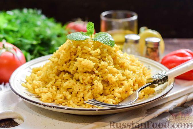Фото к рецепту: Рисовая каша на воде, с куркумой, карри и сушёными травами
