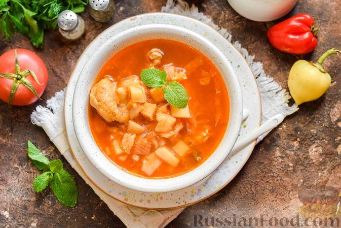 Фото приготовления рецепта: Борщ с белокочанной, цветной и пекинской капустой - шаг №15