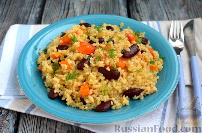 Фото приготовления рецепта: Булгур с фасолью и сладким перцем - шаг №10