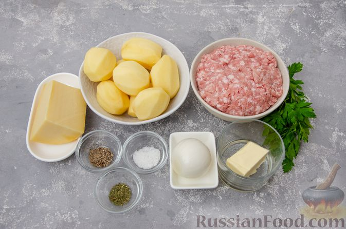 """Фото приготовления рецепта: """"Гнёзда"""" из картофельного пюре с мясным фаршем и сыром - шаг №1"""