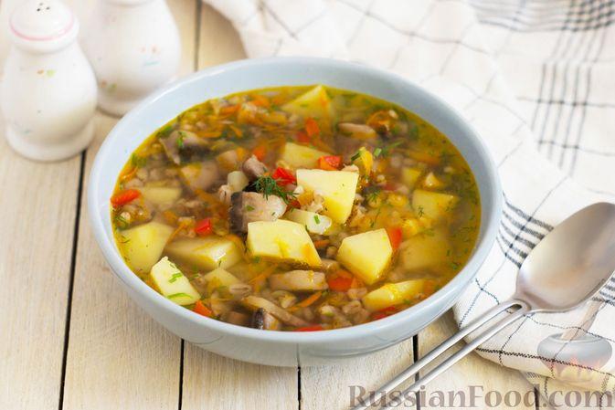 Фото к рецепту: Грибной суп с перловой крупой