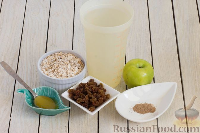 Фото приготовления рецепта: Ленивая овсянка на воде, с изюмом и яблоками - шаг №1