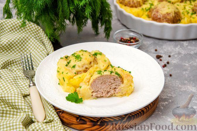 """Фото приготовления рецепта: """"Гнёзда"""" из картофельного пюре с мясным фаршем и сыром - шаг №15"""