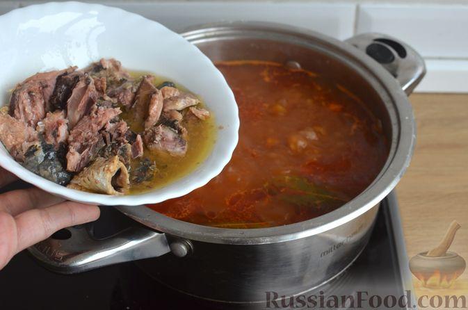 Фото приготовления рецепта: Гречневый суп с рыбными консервами - шаг №10