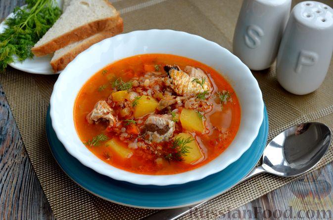 Фото приготовления рецепта: Гречневый суп с рыбными консервами - шаг №12