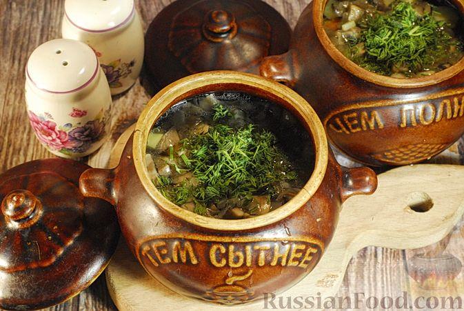 Фото приготовления рецепта: Грибной суп с сельдереем (в горшочках) - шаг №9