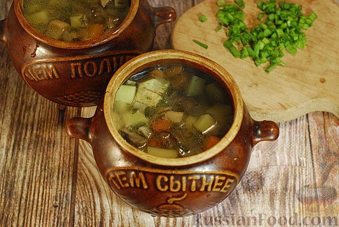 Фото приготовления рецепта: Грибной суп с сельдереем (в горшочках) - шаг №11