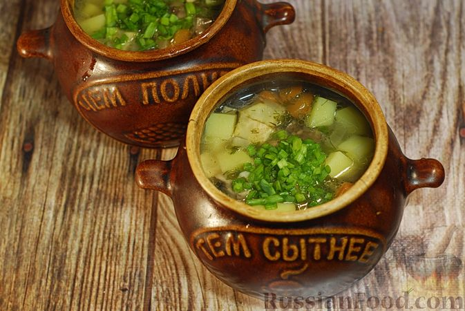 Фото приготовления рецепта: Грибной суп с сельдереем (в горшочках) - шаг №12