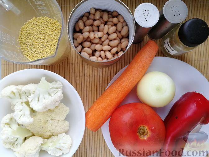Фото приготовления рецепта: Фасолевый суп с пшеном и цветной капустой на курином бульоне - шаг №3