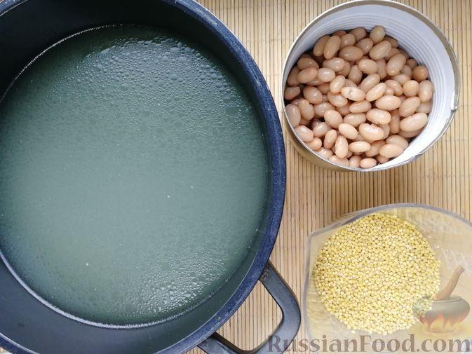 Фото приготовления рецепта: Фасолевый суп с пшеном и цветной капустой на курином бульоне - шаг №4