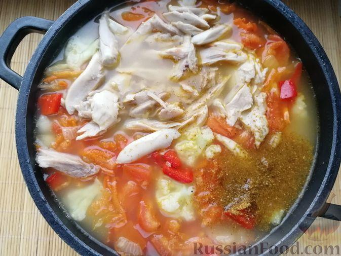 Фото приготовления рецепта: Фасолевый суп с пшеном и цветной капустой на курином бульоне - шаг №10