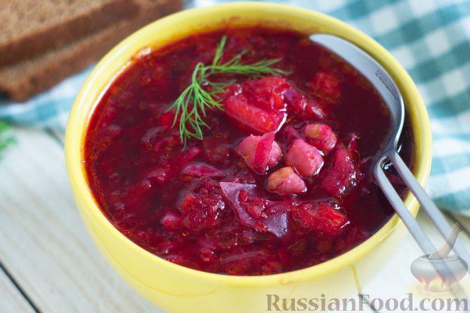 Фото приготовления рецепта: Борщ с краснокочанной капустой и нутом - шаг №11