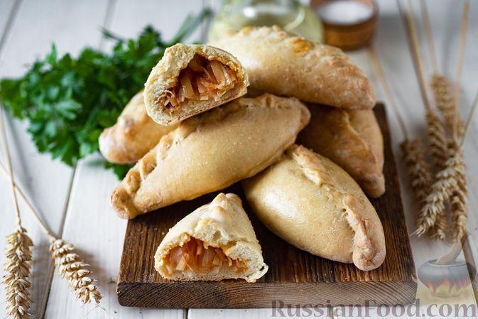 Фото приготовления рецепта: Пирожки из бездрожжевого заварного теста на кефире, с капустой (в духовке) - шаг №14