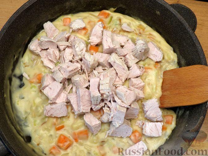 Фото приготовления рецепта: Песочный пирог с курицей и овощами - шаг №12