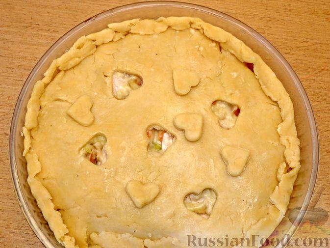Фото приготовления рецепта: Песочный пирог с курицей и овощами - шаг №16