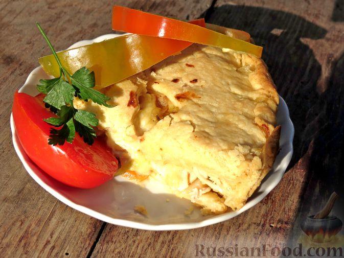 Фото приготовления рецепта: Песочный пирог с курицей и овощами - шаг №18