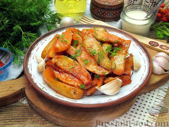 Фото к рецепту: Картошка по-деревенски, в микроволновке