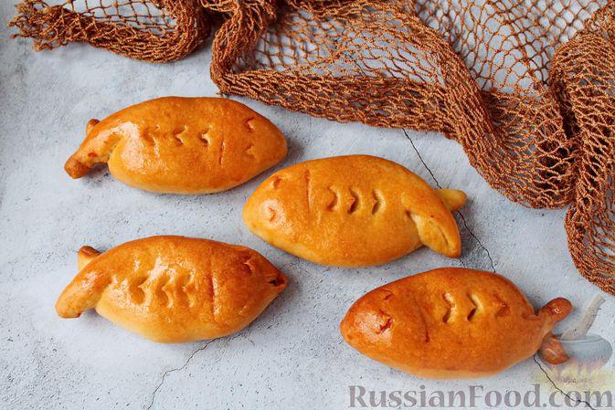 Фото к рецепту: Дрожжевые пирожки с рыбой, варёными яйцами и зелёным луком