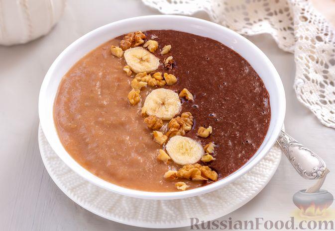 """Фото приготовления рецепта: """"Двойная"""" шоколадная овсянка на воде, с яблочно-банановым пюре - шаг №8"""