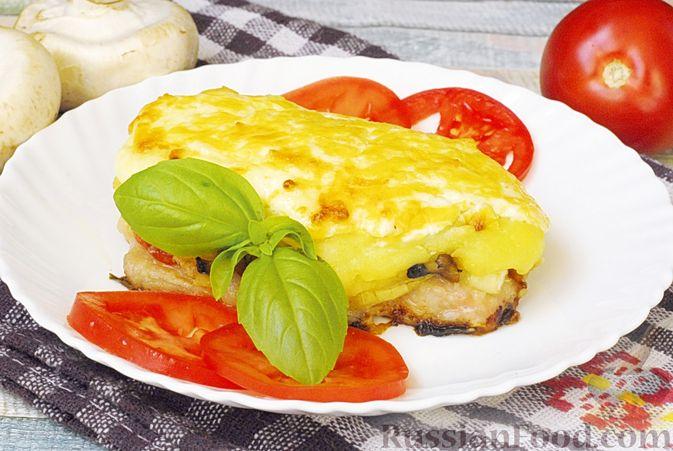 Фото к рецепту: Мясо по-французски с помидорами, грибами и картофельным пюре