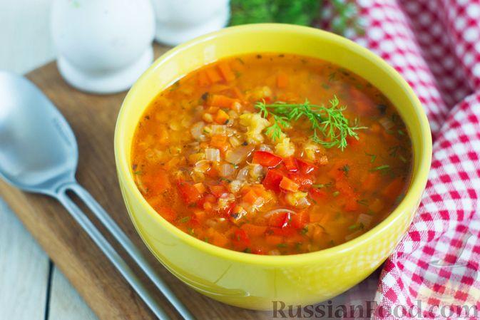 Фото к рецепту: Чечевичный суп с овощами