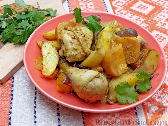 Фото к рецепту: Картофель, запечённый с курицей и репой (в рукаве)