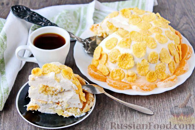 Фото к рецепту: Творожно-сметанный десерт с апельсином и кукурузными хлопьями
