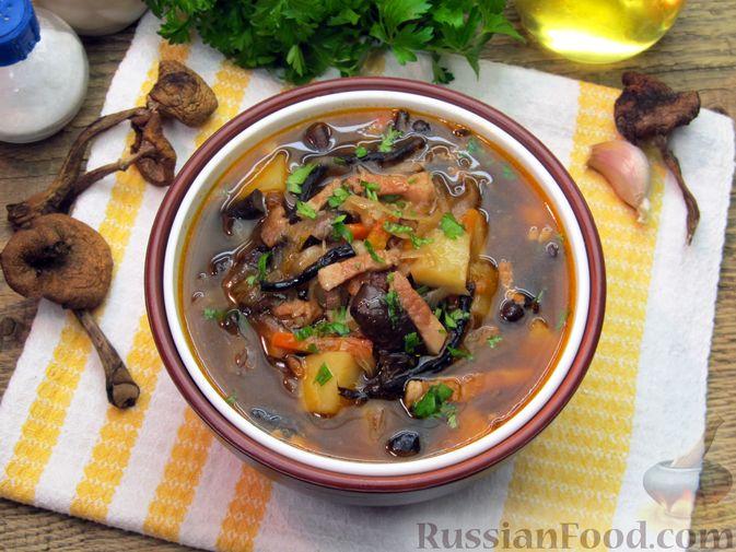 Фото к рецепту: Щи из квашеной капусты с беконом, грибами и томатной пастой