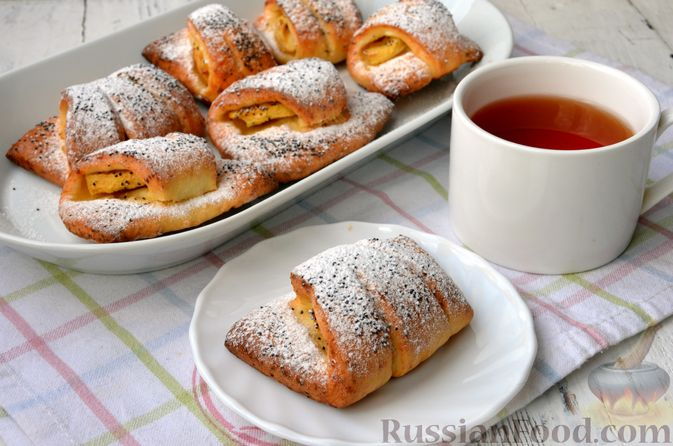 Фото к рецепту: Рулетики из творожного теста, с яблочной начинкой