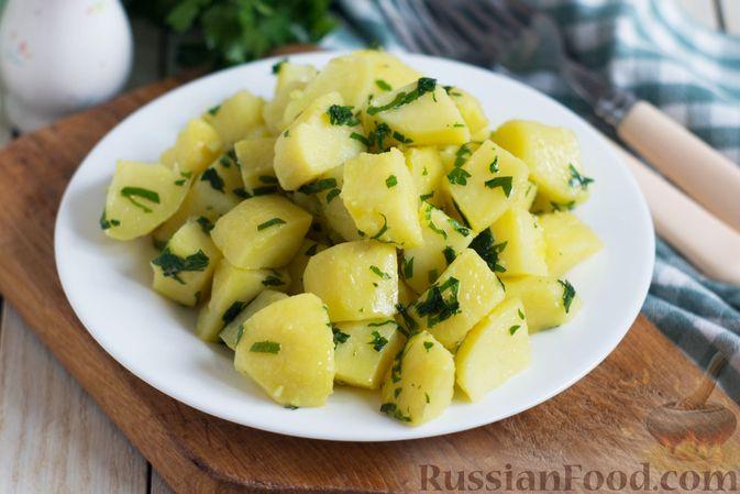 Фото к рецепту: Отварной картофель с петрушкой