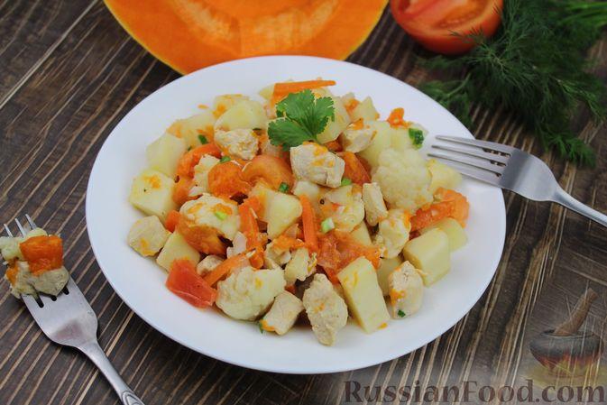 Фото к рецепту: Рагу с курицей, картошкой, тыквой и цветной капустой