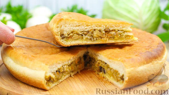 Фото к рецепту: Пирог с капустой и грибами
