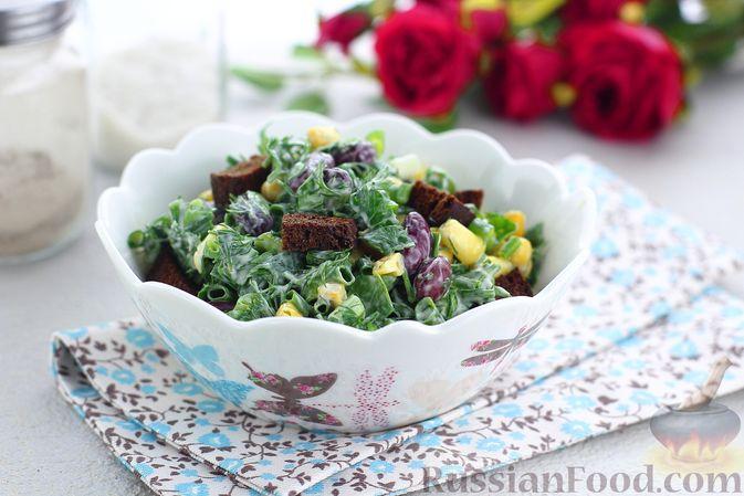 Фото к рецепту: Салат с консервированной фасолью, кукурузой, сухариками и зеленью