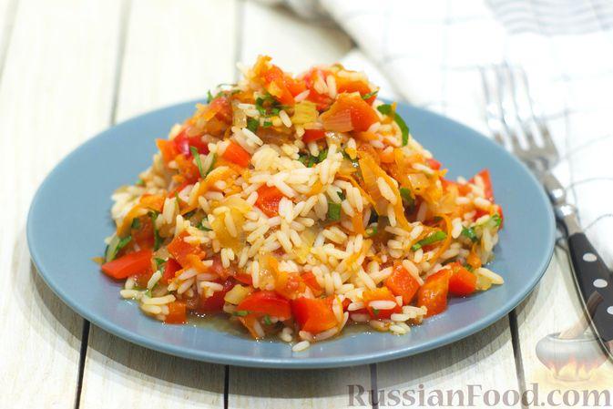 Фото к рецепту: Рис с овощами, в сковороде