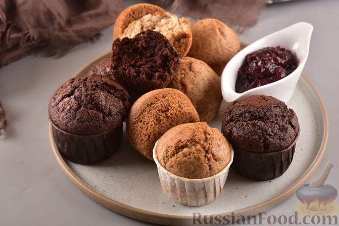 Фото к рецепту: Постные кексики с какао и зелёным чаем