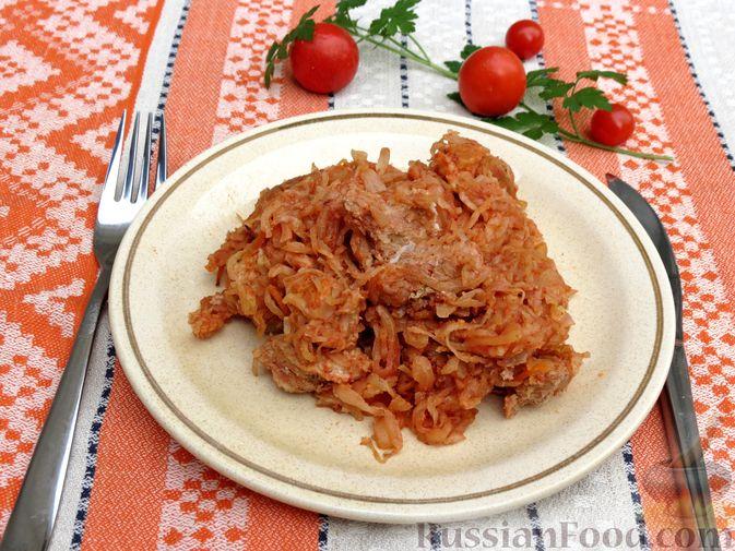 Фото к рецепту: Квашеная капуста, запечённая с мясом (в рукаве)