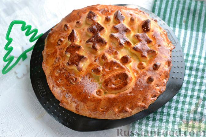 Фото к рецепту: Дрожжевой пирог с печёночной начинкой