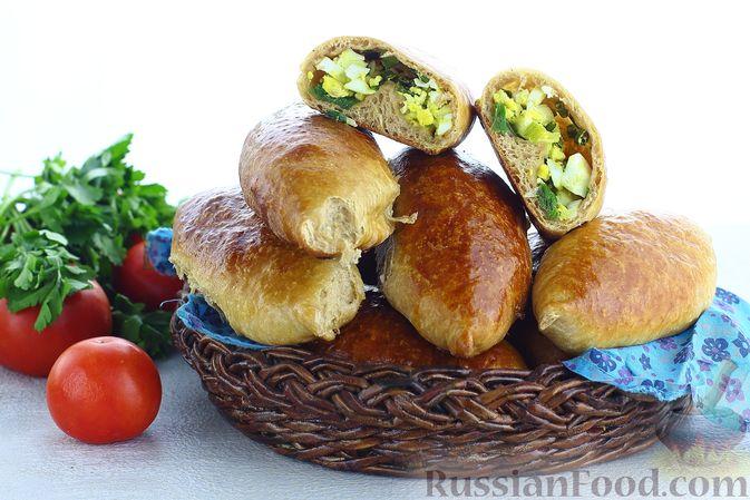 Фото к рецепту: Пшенично-гречневые пирожки с зелёным луком и яйцами (в духовке)