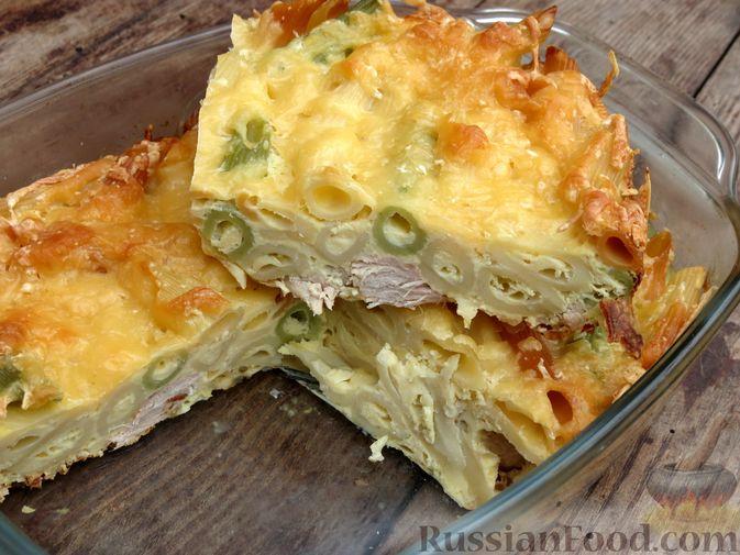 Фото к рецепту: Запеканка из макарон с индейкой и сыром