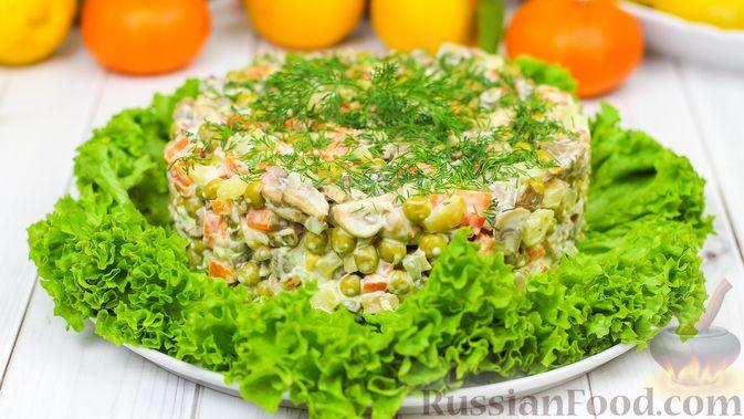 Фото к рецепту: Салат с грибами (как оливье)