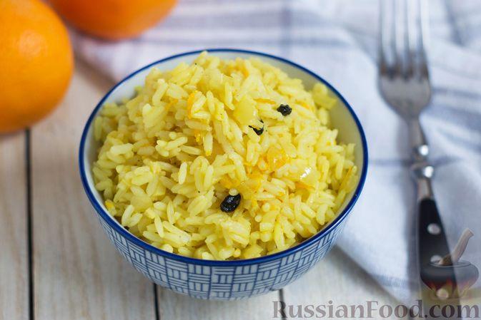 Фото к рецепту: Рис с имбирём, пряностями, апельсиновым соком и цедрой