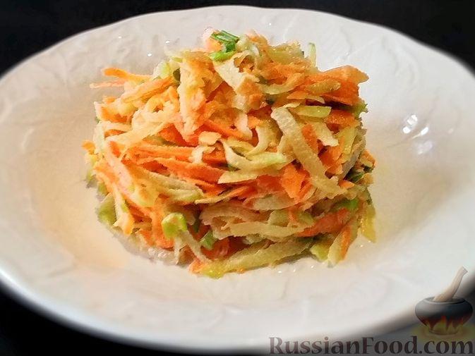Фото к рецепту: Салат из зелёной редьки и моркови