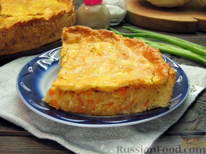 Фото к рецепту: Закрытый пирог из песочного теста с капустной начинкой