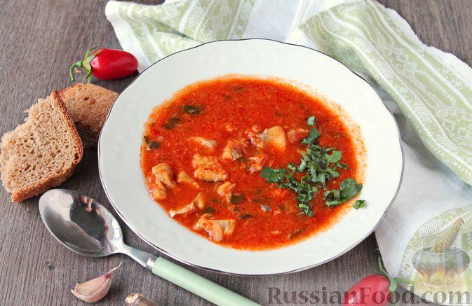 Фото к рецепту: Рыбный суп с консервированными томатами