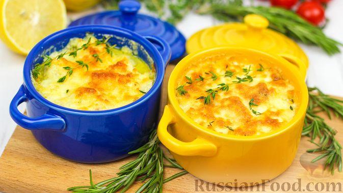 Фото к рецепту: Треска под сливками и сыром (в духовке)