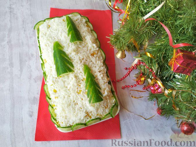 "Фото к рецепту: Новогодний салат с курицей ""Ёлочки в снегу"""