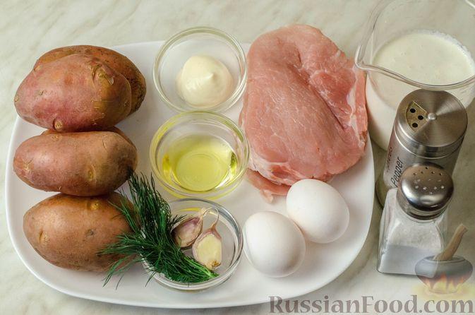 Фото приготовления рецепта: Мясные рулетики с омлетом, запечённые с картофелем и сливками - шаг №1