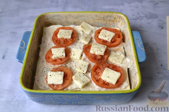 Фото приготовления рецепта: Лазанья с рыбой, помидором и сыром - шаг №15